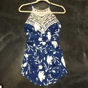 Blue floral & lace crisscross open back dress